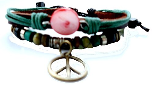 Chic-Net Surfer pulsera de cuero signo de la paz rojo cuentas de piedra de latón cordón de cuero ajustable, libre de níquel