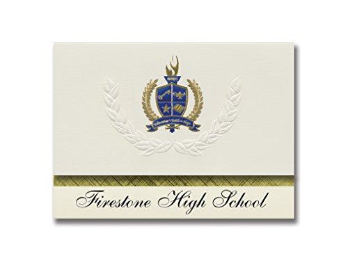Signature Announcements Firestone High School (Akron, OH) Graduation Ankündigung, Presidential Style, Elite Paket mit 25 Stück mit Gold & Blau Metallic Folien-Siegel