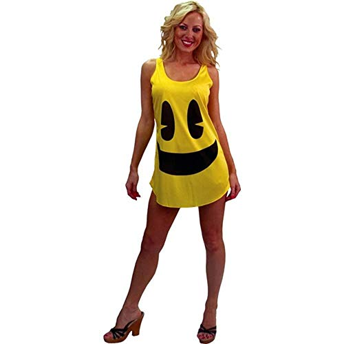 Pac-Man Face Deluxe Tank Dress, Yellow for Women