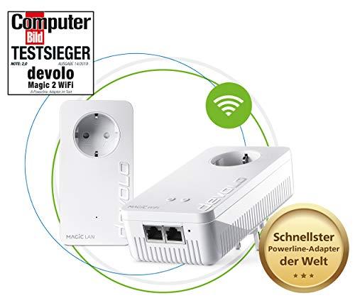 devolo Magic 2 Wifi AC Starter Kit dLAN 2.0: Perfekt für Home Office & Streaming, Weltweit schnellstes Powerline-Starterkit für zuverlässiges WLAN ac mühelosvia Stromleitung, bis 2400 Mbit/s