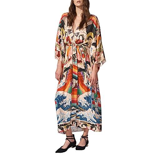 Lazz1on Copricostume Mare Donna Lungo Cardigan da Spiaggia Sexy Parei Boemia Kimono Costume da Bagno