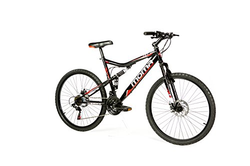 "Moma Bikes Bicicleta Montaña HIT 26"", SHIMANO 21V, Doble Freno Disco, Full Suspension"