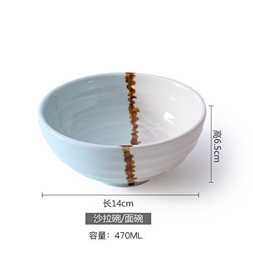 YUWANW Vaisselle en Céramique Japonaise Vaisselle Et Vaisselle Vaisselle Nouvelle Maison Bol À Riz Bol À Soupe en Porcelaine Glaçure Plaque en Porcelaine Créative, Bleu Et Blanc - Saladier