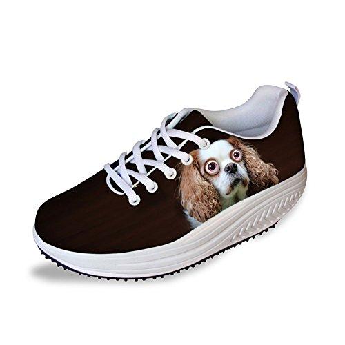 Gopumchy Damen Zombie Hund Mode Mesh Plateau Wedges Sneaker Wedges mit Keilabsatz Slip On Atmungsaktiv Outdoor Keilabsatz Loafer Freizeit Laufschuhe Sommer CC31 EU 40
