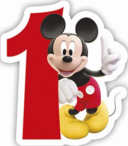 Procos 83149 Mickey Mouse Club House número 1 - Vela numeral, color rojo y blanco