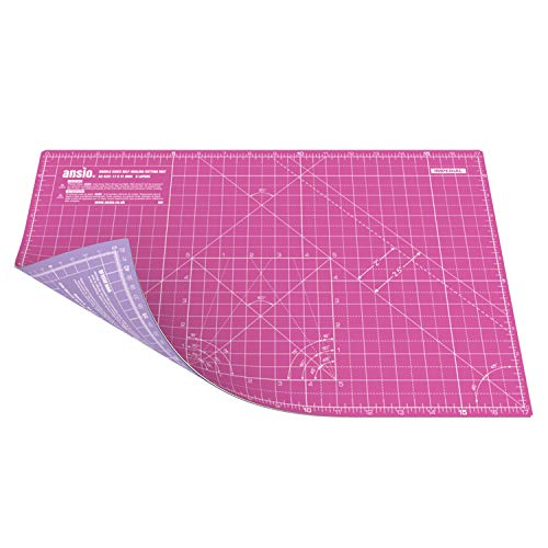 Ansio A3 doble cara auto curación 5 capas de corte Mat Imperial/métrica 17 pulgadas x 11 pulgadas / 42 cm x 27 cm - Super rosa/Lavanda morada