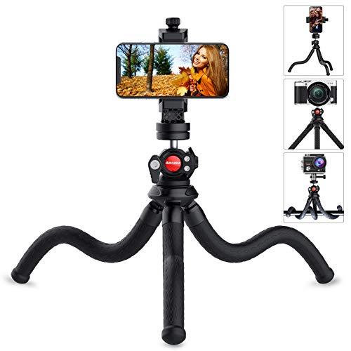 Smartphone Stativ flexibel, Anozer Handy Stativ Kamera mit Universalclip und Kaltschuhhalterung, um 360 ° drehbares iPhone Stativ Ministativ für iPhone, Android-Handy, GoPro, SLR-Sportkamera
