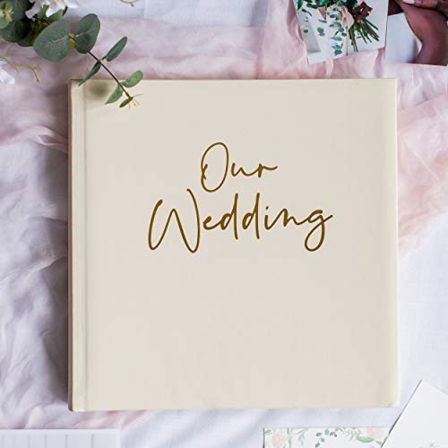 Your Perfect Day Wedding Photo Album Cream & Gold – Wedding Scrapbook Album – Pictures & Photos Stored Safely Marriage Albums – 12 inch Square - 2 x Pockets  Keepsake  Wedding Gift