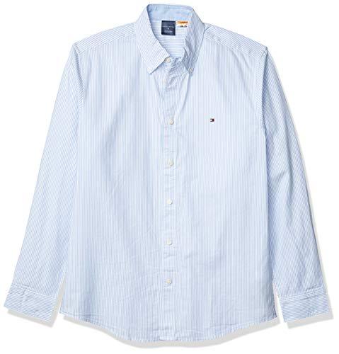 Tommy Hilfiger Men's Adaptive Magnetic Long Sleeve Button Down Shirt Custom Fit, Light Blue, X-Large