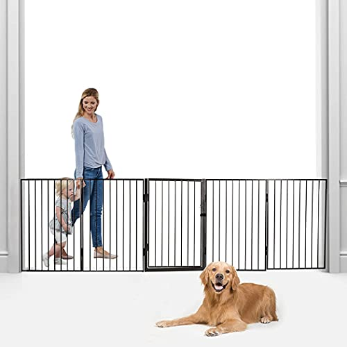 Krdebasai Extra Wide Baby Gate with Door 122 Inch Pet Gates for Dogs for Doorway 5 Panels Adjustable Indoor Safety Gates Dog Gates for The House Tall Baby Gate for Stairs Child Gate Fireplace Fence