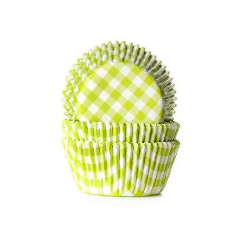 House of Marie 50 Muffinförmchen, grün weiß kariert