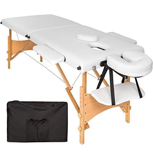 TecTake Camilla de masaje mesa de masaje banco 2 zonas plegable + bolsa (Blanco | No. 401464) ✅