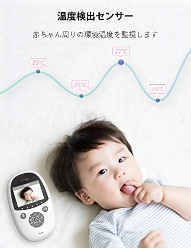 Victure ベビーモニター 見守りカメラ 最新版 2.4 インチ遠隔監視 双方向音声通信 遠隔監視カメラ 暗視機能付き ベビーカメラ HD高画質 出産祝いプレゼント 日本語説明書