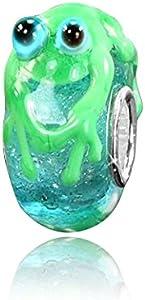 MATERIA objetos de cristal de Murano Beads rana azul turquesa Element 3D - 925 de plata con cuentas de cristal de Murano para Beads Pulsera #950