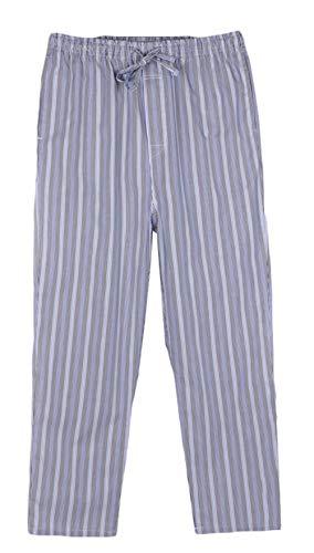 Icegrey Herren Lange Gestreifte Pyjamahose Schlafanzughose Baumwolle Nachtwäsche M