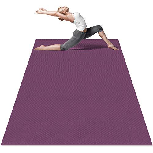 Odoland Esterilla de Yoga Grande 183 x 122 x 0.6 cm, Alfombrilla Deporte 6mm Grueso de Ecológico TPE, Antideslizante, Colchoneta de Pilates, Estiramientos, Gimnasia en Casa o en Gimnasio, Violeta