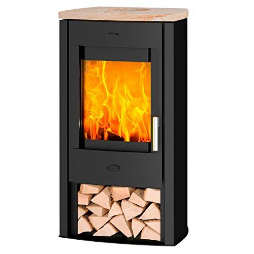 Fireplace K5733 Tuvalu Kaminofen Stahl Schwarz | Topplatte Sandstein/A+