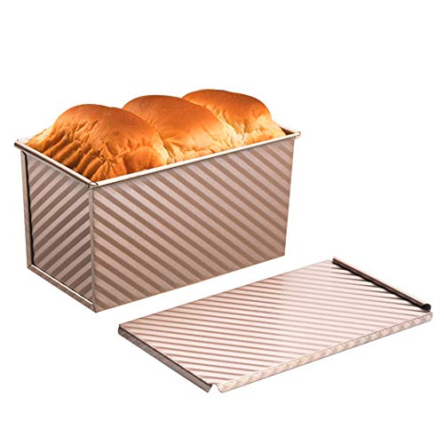 AWYGHJ Pullman Loaf Pan with Cover, Homemade Cakes Non-Stick Bread Toast Mold, Aluminum Alloy Bread Baking Pan, for Oven Baking Breads and Meatloaf