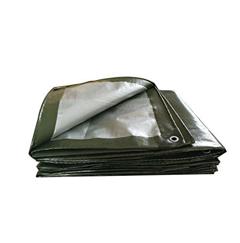 Zzye Lona Cubierta de lona de poli al aire libre - Tar lona resistente a UV de servicio pesado - Pintura de propósito multi, camping y mochilero Tarp, grosor 0.35mm, 180 g / m2, ejército verde + plata