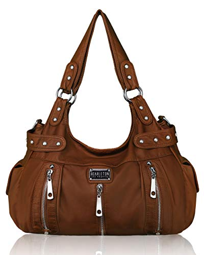 This satchel bag is perfect companion for any activity; work, play, school, shopping or travelling. Scarleton's beautiful and functional purse is a great gift for Valentine's Day, Mother's Day and birthdays. This Scarleton handbag's material is washe...