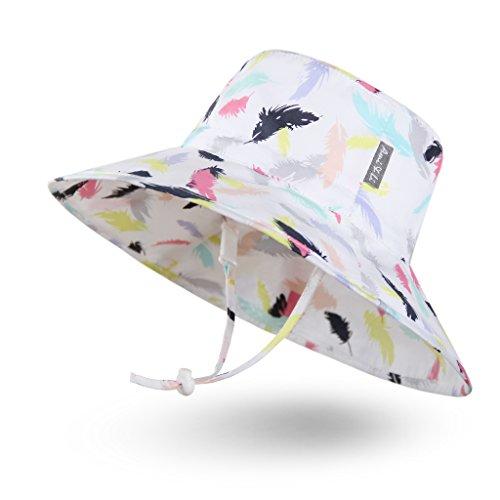 Ami & Li tots Niña Sombrero de Sol Bob Ajustable para Bebé Niña Niño Infantil Niños Pequeños Sombrero Protección Solar UPF 50 Unisexo-M:Plumas de Colores