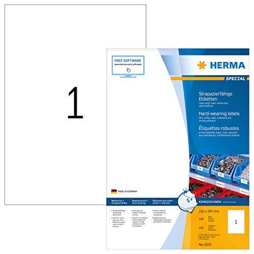 HERMA 8335 Wetterfeste Folien-Etiketten DIN A4 (210 x 297 mm, 100 Blatt, Polyesterfolie, matt) selbstklebend, bedruckbar, extrem stark haftende strapazierfähige Klebefolie, 100 Klebeetiketten, weiß