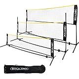 Boulder Portable Badminton Net Set - for Tennis, Soccer Tennis, Pickleball, Kids Volleyball - Easy Setup Nylon Sports Net with Poles (Black/Yellow, 10 FT)