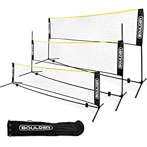 Boulder Badminton Pickleball Portable Net - Height Adjustable Net for Junior Tennis, Kids Volleyball & Soccer, and Backyard Games - Easy Setup Nylon Sports Net with Poles 10 ft/14ft/17ft Wide