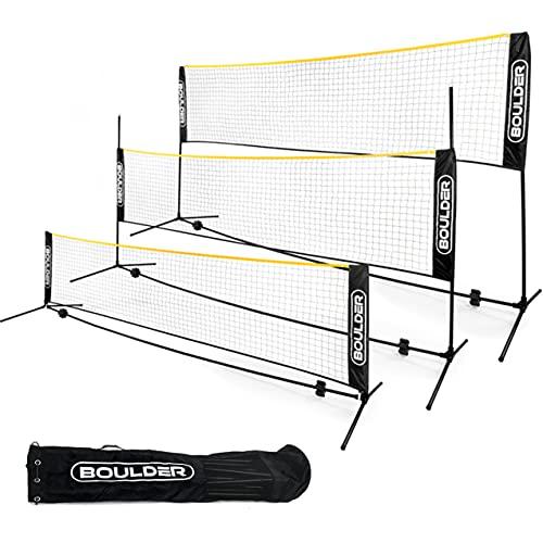Boulder Portable Badminton Net Set - for Tennis, Soccer Tennis, Pickleball, Kids Volleyball - Easy Setup Nylon Sports Net with Poles (Black/Yellow, 17 FT)