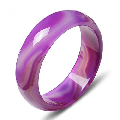 Olydmsky Jade-Armreif, Natürliches lila Achat-Armband verbreitert Dickes lila Achat-Chalcedon-Damenmodegeschenk mit Geschenkbox