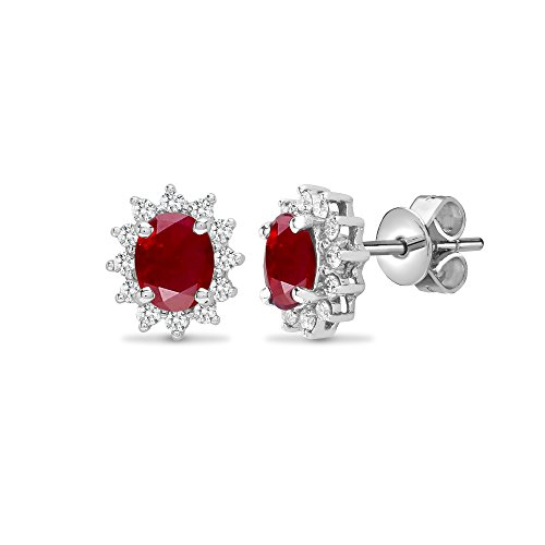 Jewelco London 18ct White Gold Cluster Set G SI 0.19ct Diamond and Oval Red 1.04ct Ruby Royal Cluster Stud Earrings
