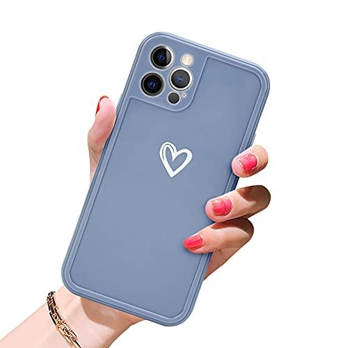 Newseego Morbido TPU Custodia Compatibile per iPhone 12 PRO(6.1'', Carino Heart iPhone 12 PRO Cover Case per Cellulare per Ragazze Protettivo Custodia in Antiurto Sottile iPhone 12 PRO-Grigio