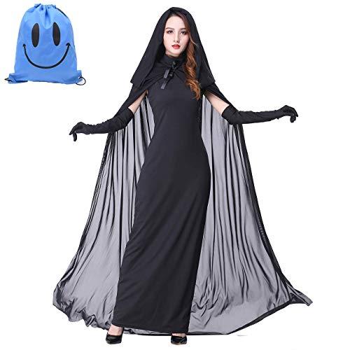 Myir Halloween Kostüm Damen Geister Schwarze Geisterbraut böse Königin, Karneval Ausführen Kostüme Erwachsene Vampir Lange Kleid Horror (Schwarz, XX-Large)