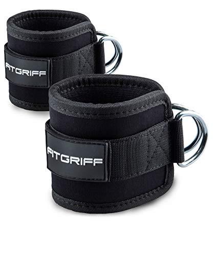 Fitgriff® Tobillera para Polea (Acolchado)- 2 Piezas Correas Tobillos Gym Cable Maquinas, Gimnasio, Fitness - Mujeres y Hombres - Black