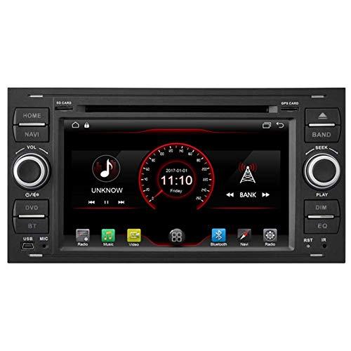 KLL Android 10 Car DVD Player GPS Stereo Head Unit Navi Radio Multimedia WiFi para Ford Fiesta 2005 Kuga 2008-2011 S-MAX 2007-2009 Soporte de Control del Volante (Negro)