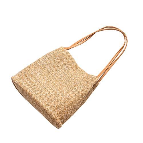 VALICLUD Chic Knitted Bag Handmade Straw Bag Bucket Bag Shoulder Bag