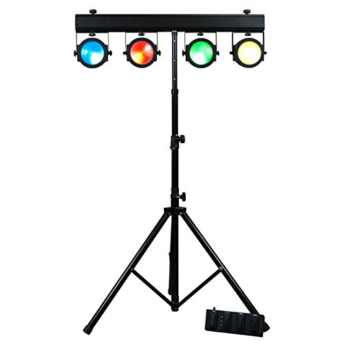 American DJ Dotz TPar System   Light system with 4 x 30 watt COB Tri RGB Leds for wash/blinder effect with stand, travel bag