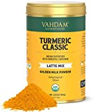 VAHDAM, Orgánico Cúrcuma Latte Clásico, 40 tazas (100g) | Golden Milk Powder Con Potente Curcumina | Latte De Cúrcuma | Té De Cúrcuma | Brew Caliente O Hielo Té | curcuma con pimienta negra