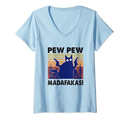 Damen Pew Pew Madafakas Cat Crazy Vintage Retro Graphic T-Shirt mit V-Ausschnitt