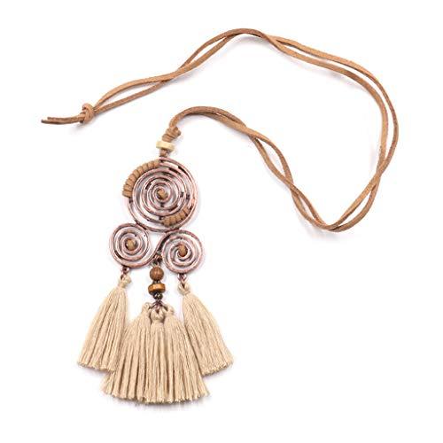 Ogquaton Vintage Bohemio étnico Borla Colgante Collar Largo PU Cuerda