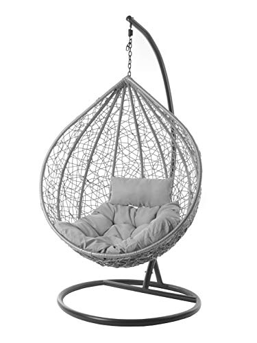 Kideo® Komplettset: großer Hängesessel mit Gestell & Kissen, Lounge Möbel, Poly-Rattan, XXL, grau (Kissen: grau Chester (8008 Cloud))
