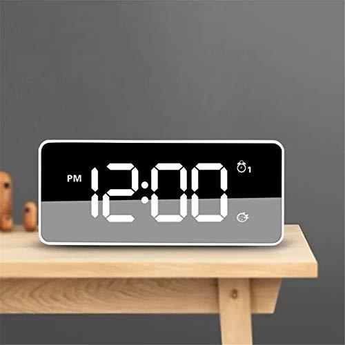 Lpinvin Sveglia Sveglia Multifunzione Retroilluminazione Regolazione con Doppio Allarme Impostazioni Snooze Comodino Orologio (Colore : White, Size : One Size)