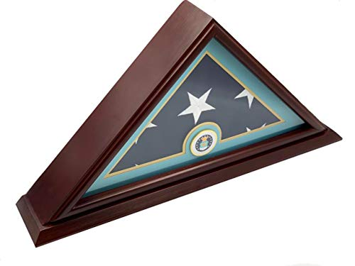 DECOMIL - 5x9 Burial/Funeral/Veteran Flag Elegant Display Case with Base, Solid Wood, Cherry Finish (Air Force)