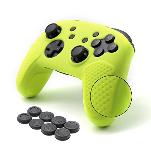 CHIN FAI per Nintendo Switch PRO Controller Case, Custodia Protettiva in Silicone Antiscivolo con 8pcs Thumbsticks Grip (Giallo Limone)