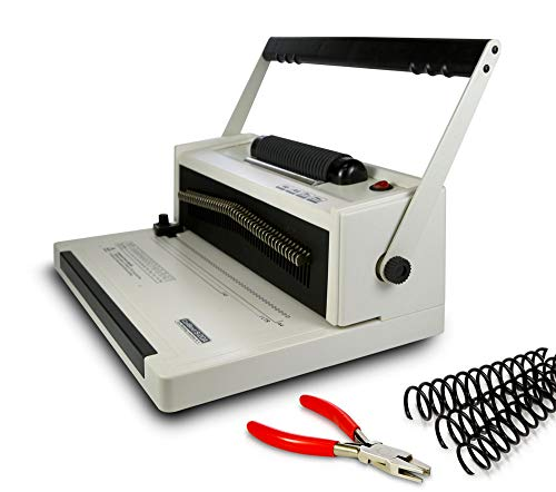 Coilbind S20A Coil Punch & Binding Machine - with Electric Coil Inserter - Professionally Bind Presentations and Documents - Free Crimper & 8mm Plastic COILS (Box of 100pcs) - Heavy Duty Coil Binding