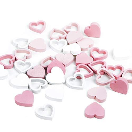 Logbuch-Verlag 34 kleine Flache Mini Herzen rosa weiß aus Holz 2 cm Streudeko Streuteile Deko Tischdeko zum Streuen Geburtstag Mädchen Taufe Hochzeit