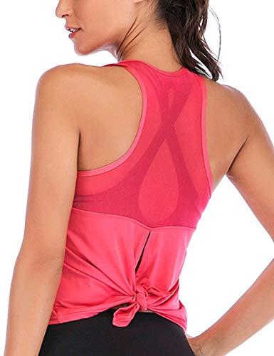 Ekouaer Yoga Women's Yoga Workout Mesh Shirts Activewear Sexy Open Back Sports Shirt Tops
