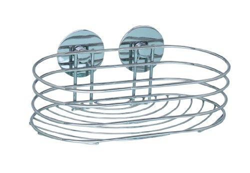 WENKO Turbo-Loc Wandablage, Duschablage für Seife, Shampoo & Co., Wandregal fürs Badezimmer, Befestigung ohne Bohren, aus verchromtem Stahl, 23,5 x 10,5 x 13,5 cm