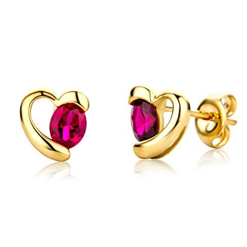 Miore Schmuck Damen Ohrringe mit Edelstein/Geburtsstein Rubin in rot Ohrstecker aus Gelbgold 9 Karat / 375 Gold