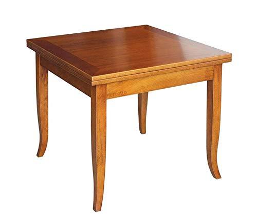 Arteferretto Table Manger carrée Extensible 90x90 cm, Style Classique, Structure en Bois